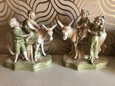 Gorgeous Antique Pair Of Continental Figurines - Children With Donkeys • 49.99£