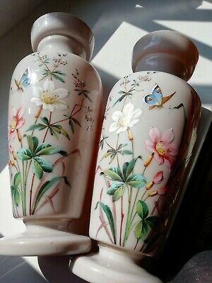 Stunning Pair Antique Victorian Hand Painted Enamelled Opaline Glass Vases • 125£