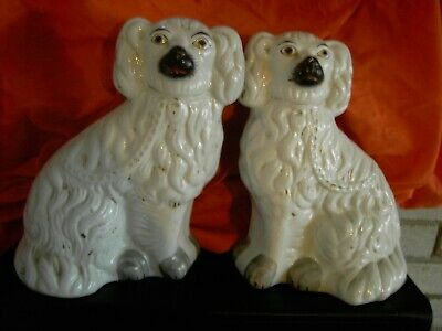 Pair Of Antique Staffordshire Wally Dogs Flatback China Spaniels Poodles • 45£