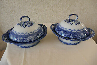 Pair Of Antique Flow Blue, Watteau Pattern, Doulton, Covered Tureens   • 30£