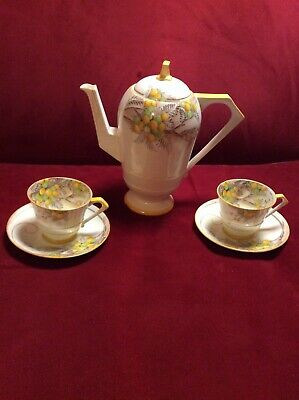 Paragon Art Deco Vintage Tea / Coffee Pot With Matching 2 Cups And Saucers 1930s • 12£