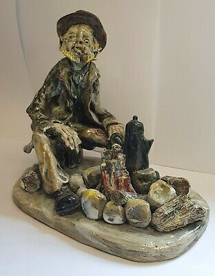 Norman Underhill Signed Large Art Pottery Detailed Figure Sat By A Camp Fire  • 59.99£
