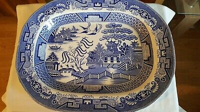 Large Antique Victorian  Blue And White Willow Pattern Ceramic Meat Platter  • 30£
