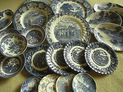 Mismatched Vintage Blue & White Scenes, Willow Pattern - Plates, Bowls, Etc  • 22.50£