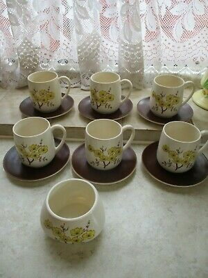 Six Vintage Carlton Ware Tea Cups And Saucers Flower Design Plus Sugar Bowl • 14.95£