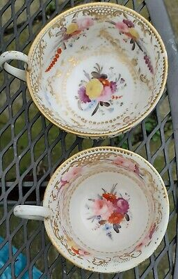 antique Coalport Empire Shaped Tea & Coffee Cup - Painted Flowers 1820's • 18£