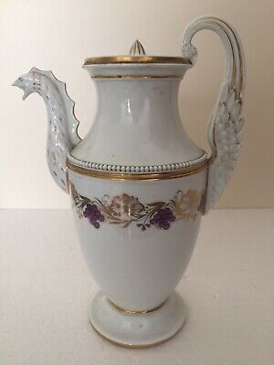 Russian Popov Porcelain Griffin Spout & Handle Pearl Beaded Coffee Pot C1820 • 40£