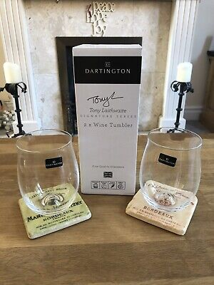 Dartington Crystal 2 X Wine Tumbler Glass Stemless Tony Laithwaite Signature • 3.90£