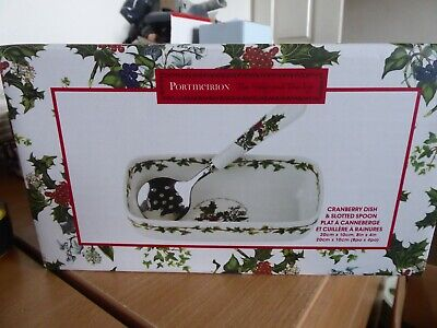 BNWT Portmeirion Holly And Ivy  Dish And Slotted Spoon • 18£