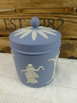 Vintage Wedgwood Jasperware Blue Lidded Pot Decorative Goddess Design • 29.99£
