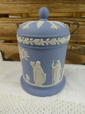 Vintage Wedgwood Jasperware Blue Lidded Pot Decorative Family Design • 29.99£