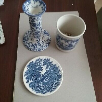 Blue And White Pottery 3 Items,candlestick, Beaker, Small Plate.  • 1.99£