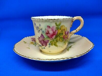 Royal Worcester Hand Painted Cabinet Cup And Saucer • 10£