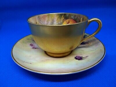 Royal Worcester Hand Painted Cup And Saucer Lockyer And Ricketts • 30£
