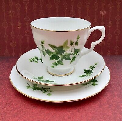 ROYAL VALE GREEN IVY LEAF TRIO SET - CUP SAUCER PLATE C1950s GILDED BONE CHINA • 15£