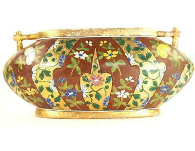 Antique Bohemian / Hungarian Pottery Vase Hand Painted Flowers Enamels Gold • 99.99£