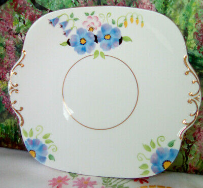 Vintage Hand Painted Floral Cake Plate • 10£