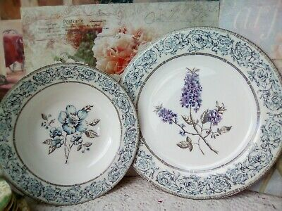 QUEENS CHINA JARDINET 2 Person Set  2 DINNER PLATES AND 2 SOUP/ PASTA BOWLS  • 20£