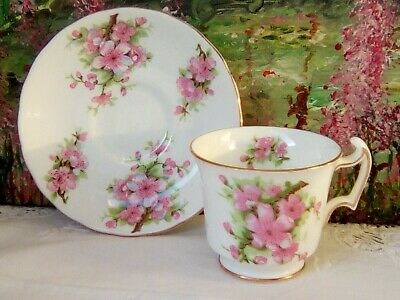 Rare Vintage New Chelsea China Pretty Pink Blossom Bat Wing Coffee Cup & Saucer • 6£