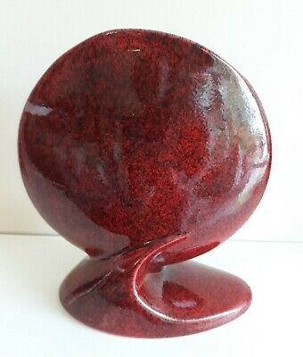 Vintage 1950s French Signed Fred & Andree Stocker Red Art Pottery Vase • 44.99£
