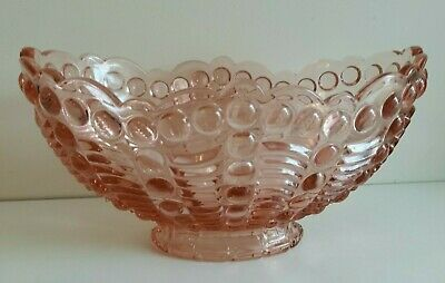 Vintage 1930s/40s Czech Libochovice? Pink Pressed Glass Bowl • 29.99£