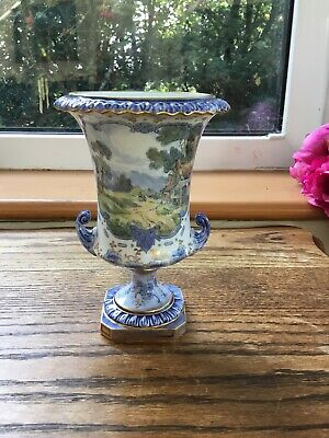 Antique Royal Crown Derby Hand Painted Country Scene Campana Vase C1914 Vgc • 105£