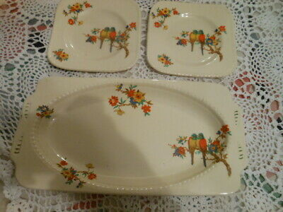 Art Deco Sandwich Tray + 2 Plates Parrot Design Staffordshire Pottery • 18£