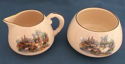 Vintage Sandland Ware Crinoline Lady In An Olde World Garden Milk Sugar Tea Time • 14.99£