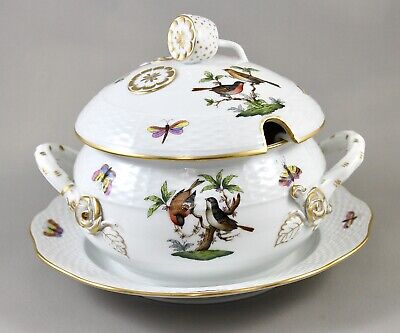 Herend Rothschild Bird Ro Small Soup Tureen Fixed Stand & Cover 690 Mint! • 225£