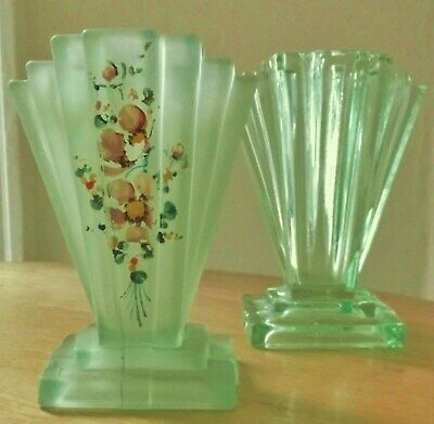 2 X Art Deco Bagley? Grantham Vases- Green Frosted With Flowers & Clear Glass 6  • 12.50£