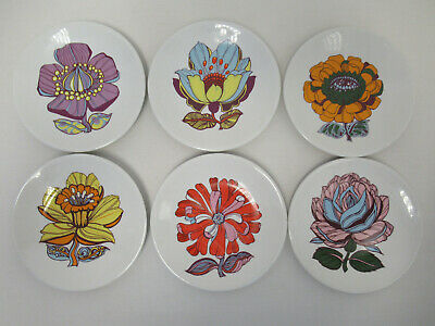 Retro 1960s Washington Pottery Flower Power Design Set Of Six 7  Side Plates • 60£