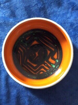 Poole Pottery Delphis Bowl - Shape 87 Carved In Orange • 25£