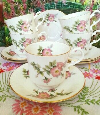 Elizabethan China Sweet Briar Pink Floral Duos ~tea Cups & Saucers Set Of 5  • 26£