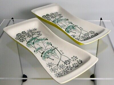 2 Robert Jefferson MCM 1962 Lucullus Parsley Poole Pottery Serving Dishes • 38£