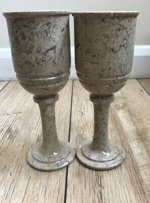 New Set Of Two Handmade Fossil Stone Marble Glasses • 13.99£