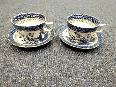 2 X Booths Real Old Willow A8025 Tea Cups And Saucers • 8£