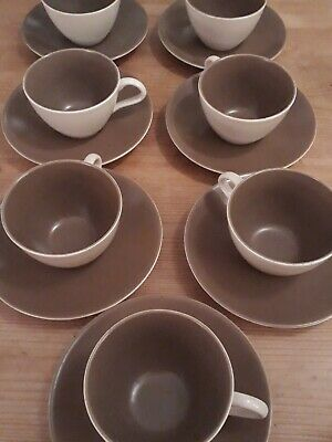 Poole Pottery Twintone Cups And Saucers - Mushroom & Sepia (7) • 1.99£
