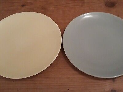 Branksome China 20cm Side Plates 1x Pale Green 1x Pale Yellow • 0.99£