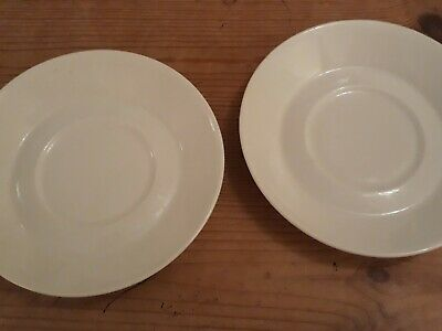 Branksome Pottery - 2 White Saucers 13.5cm  • 0.99£