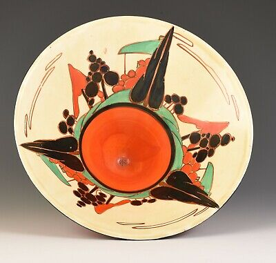 Clarice Cliff - LARGE RED TREES AND HOUSE CONICAL BOWL C.1930 • 995£