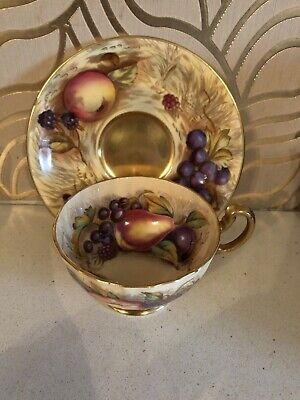 Gorgeous Aynsley Orchard Gold Cup & Saucer Signed Brunt • 29.99£