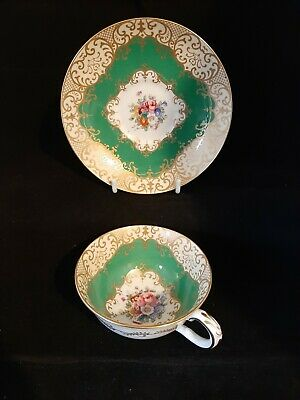 Crown Staffordshire Floral Green Gilded Cabinet Cup Saucer Will Ship Worldwide • 28£