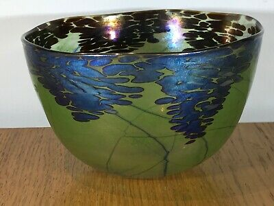 Vintage Siddy Langley Signed 1996 Iridescent Glass Bowl. Lovely Piece. • 195£