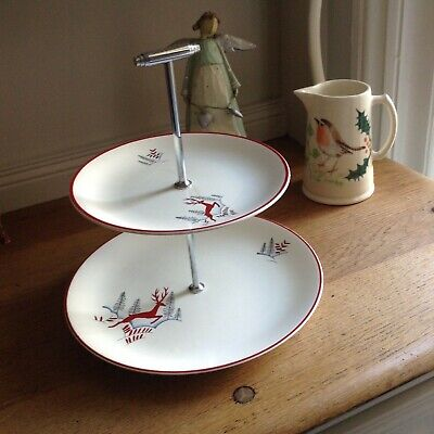 Vintage Crown Devon Stockholm Cake Stand.Perfect For Christmas • 70£