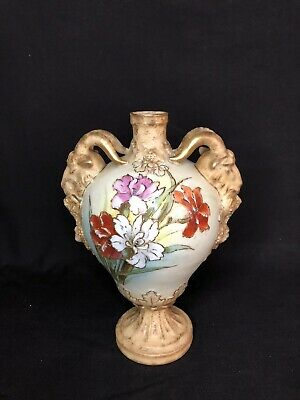 Rare Blushware Vase Goat Handles/Good Condition C.1882 • 17£