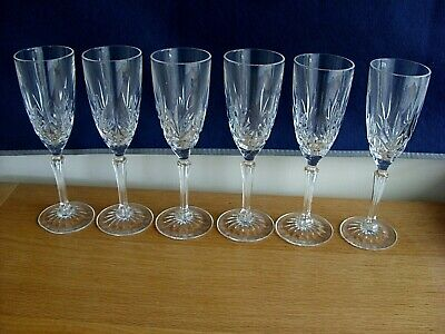 Six Crystal Champagne Flutes • 12.99£