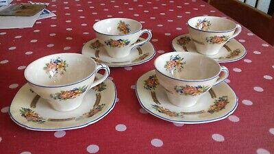 Antique Maddock Royal Ivory China - Set Of 4 Coffee Cups & Saucers Floral Design • 4£