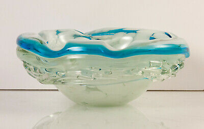 Mdina Signed Blue, White & Clear Art Glass Ash Tray / Dish With Random Strapping • 20£