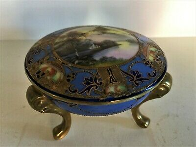 Early 20th Century  Noritake   Japanese Blue & Gold Lidded Footed Trinket Dish • 3.20£