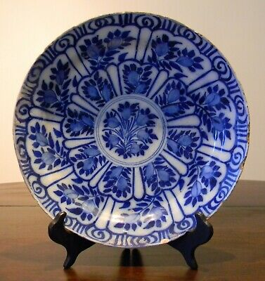 Mid 18th Century Blue & White Tin Glazed Earthenware Dutch Colonial Charger • 25£